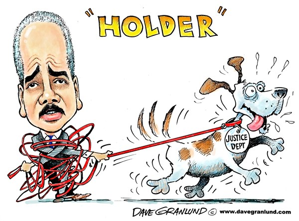 Dave Granlund - Politicalcartoons.com - Holder and Justice Dept - English - Eric Holder, Justice Dep, Department of Justice, DOJ, IRS probe, AP, scandals, invistgation, head, chief, targeting