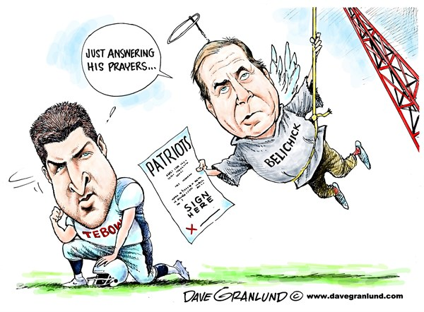 Dave Granlund - Politicalcartoons.com - Tebow to Patriots - English - tim tebow, patriots, signed, joins, team, football, belichick, QB, quarterback, gridiron, NFL, pro football