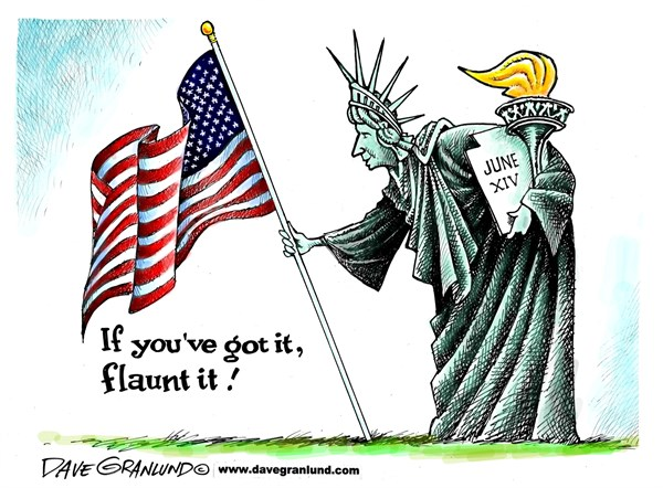 Flag Day pride © Dave Granlund,Politicalcartoons.com,Flag Day, patritism, freedom, USA, US, stars and stripes, usflag, june 14, honor, proud, flag waving, flaunt the flag, colors, old glory
