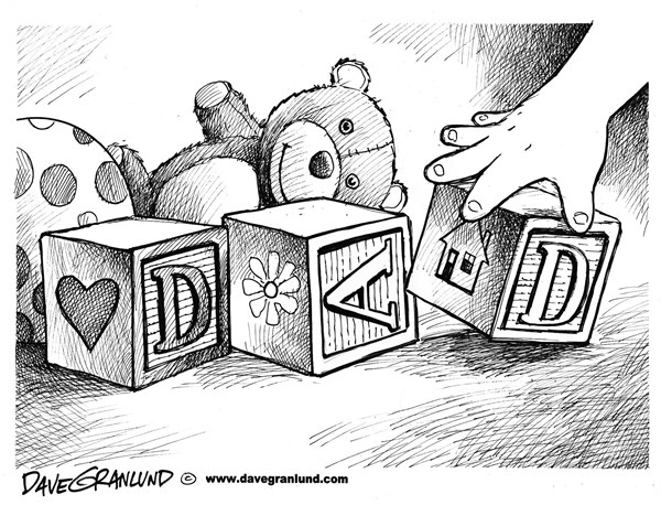 Dave Granlund - Politicalcartoons.com - Father's Day - English - Dad, dads, fatherhood, fathers, fathers, kids, toys, child, son, daughter, blocks, childs blocks, teddy bear, spelling, letters, love, pop