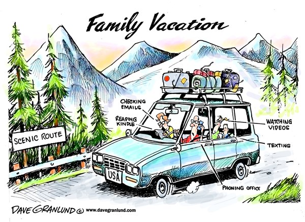 Family vacation © Dave Granlund,Politicalcartoons.com,Families,scenic route,road trip,sightseeing,mountians,valleys,trees,countryside,views,kids,texting,distractions,videos,kindle,phones,iphones,smart phones,getaway,tourists,tourism,together,mom,dad, summer vacation