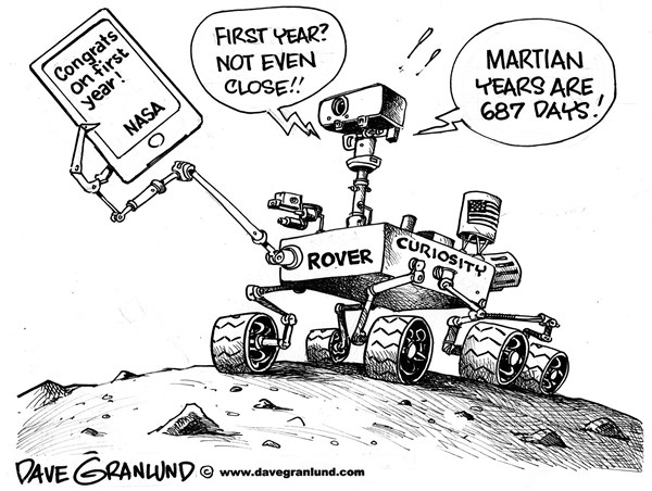 Dave Granlund - Politicalcartoons.com - Curiosity rover 1 year - English - Mars rover, curiosity rover, martian year earth, nasa, space, planets, exploration, first anniversary, 1st anniversary, mission, mars landing, jpl