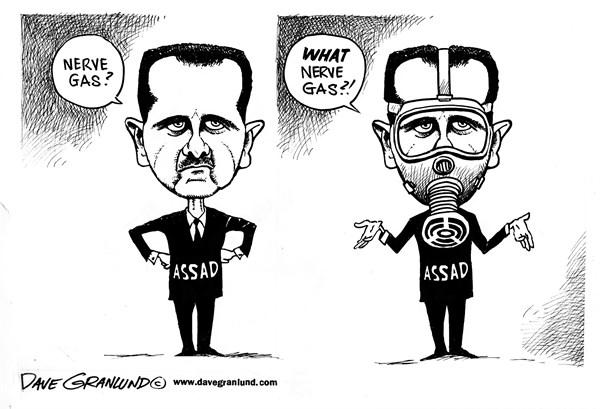 Dave Granlund - Politicalcartoons.com - Syria and nerve gas - English - assad, syria, rebels, army, conflict, nerve agent, chemical weapons, killings, deaths, dead, civilians, bombs, rockets, denial, innocents, casualties, sarin, bashar al-assad