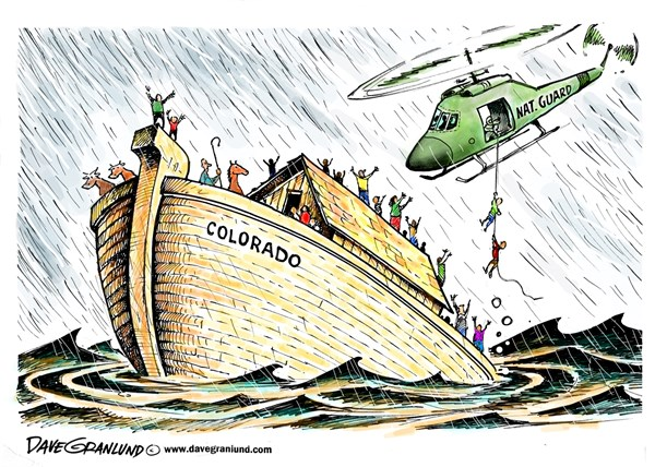 ado flooding © Dave Granlund,Politicalcartoons.com,Colorado, flooding, heavy rains, storm, wash out, damage, deaths, national guard, evacuations, stranded, rescues, airlift, weather, roads, bridges