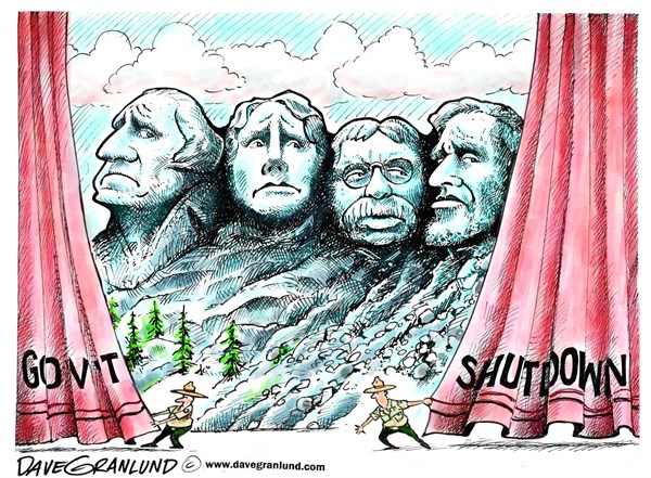 Dave Granlund - Politicalcartoons.com - Gov't shutdown  Rushmore - English - Mt Rushmore, rangers, park rangers, closed, furloughed, us parks, national parks, government shutdown, federal workers, jobs, paychecks, government programs, us, govt workers