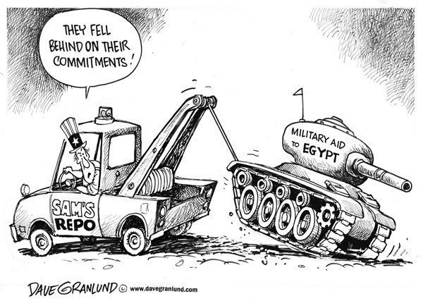 Dave Granlund - Politicalcartoons.com - US cutting back Egypt aid - English - military aid, tanks, jets, planes, aircraft, US aid, repo, uncle sam, tow truck, egyptian, riots, pulls back, reduces