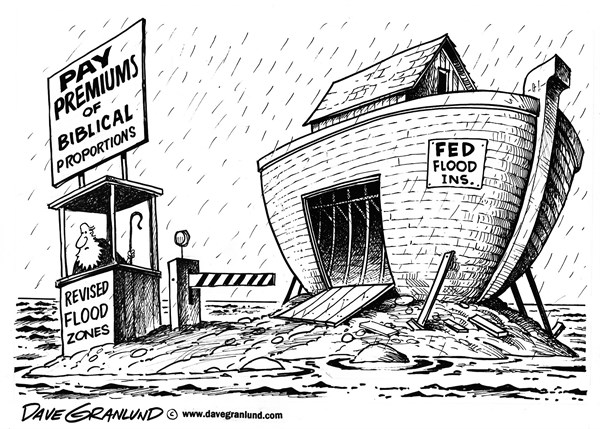 Dave Granlund - Politicalcartoons.com - Flood insurance rates - English - Federal flood insurance, Flooding, rates, premiums, revised flood zones, zones, high rates,rate spike, mortgage insurance, home insurance, rules, ark, mandatory