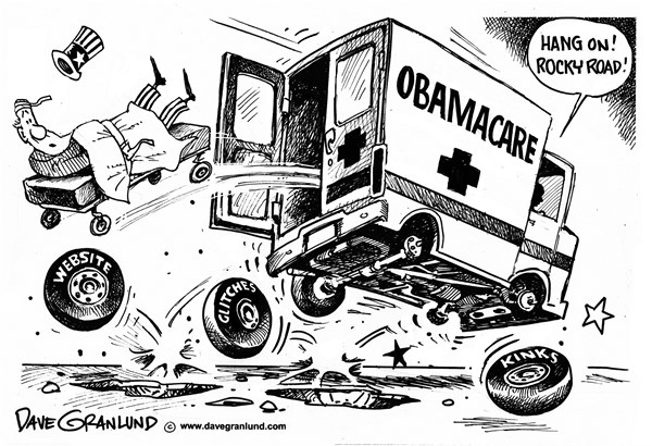 Dave Granlund - Politicalcartoons.com - Obamacare glitches - English - Obamacare, Affordable Care Act, health care, healthcare, patients, kinks, glitches, problems, website,wait time, long wait, tech problems, roll out, bad start, insurance, sign up, enroll, bumpy road, rough road,fix, 