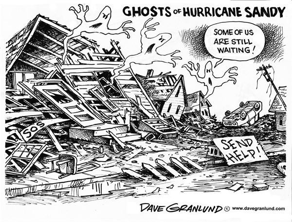 Dave Granlund - Politicalcartoons.com - Hurricane Sandy ghosts - English - Sandy, hurricane, storm, north east, flooding, damage, aid, FEMA, help, recovery, rebuild, victims, dead, anniversary, shore, storm surge, destruction, infrastructure, streets, homes, houses, families, new jersey, new york, NJ, NYC, NY, bridges, business