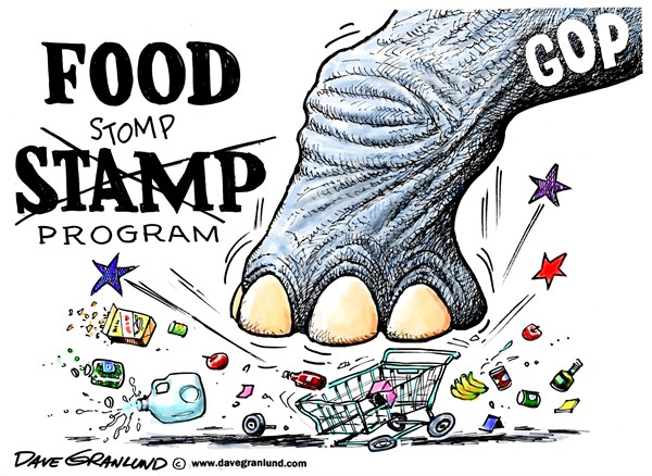 Food Stamps and stomps © Dave Granlund,Politicalcartoons.com,Food Stamps, hunger, needy, welfare, assistance, children, kids, families, unemployed, cuts, food stamp cuts, gop, republicans, suffering, groceries, nutrition, bread, meals, food, fridge, dinner, table,