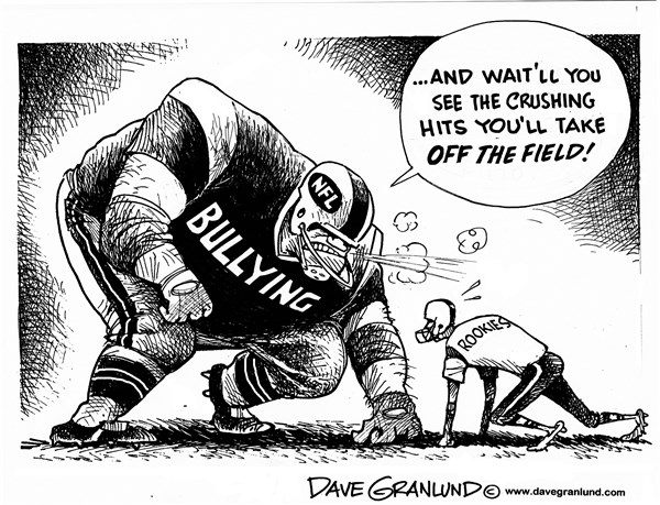 Dave Granlund - Politicalcartoons.com - NFL bullying - English - bully, hazing, cruel, mean, locker room, injuries, pro sports, pro football, teammates, teams, racial, bigoted, racial slurs, National, Football, gridiron,