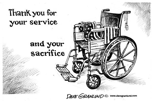 Dave Granlund - Politicalcartoons.com - Veteran's Day and sacrifice - English - Veterans, disabled veterans, wounded, injured, VA hospitals, care, handicapped, amputee, crutch, wheelchair, arms, legs, burned, brain injured, soldiers, army, air force, military, gi, marines, navy, coast guard, brave, valor, bravery, courage,patriotism