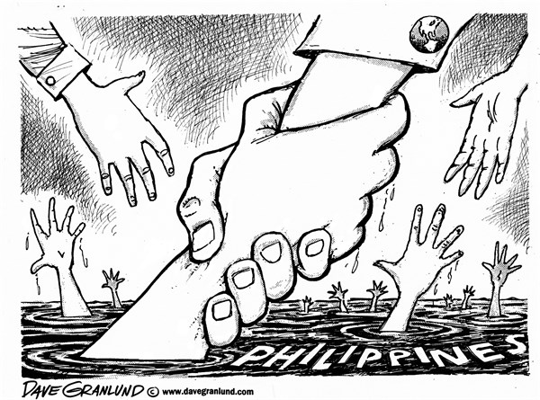 Dave Granlund - Politicalcartoons.com - Philippines - English - Philippines, typhoon, help, victims, aid, assistance, hungry, water, food, donations