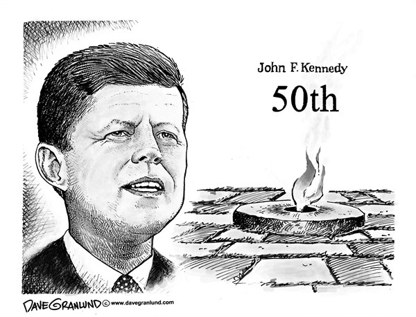 Dave Granlund - Politicalcartoons.com - JFK Eternal Flame 50th - English - Kennedy grave, Kennedy assassination, killed, anniversary, death, burial, Arlington, flame, John F Kennedy, 1963, 2013, assassinated, president, assassin, tribute, 50 years, JFK
