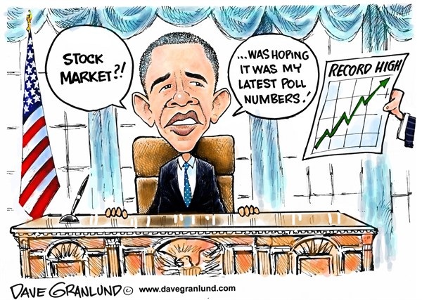 Obama polls and stock market © Dave Granlund,Politicalcartoons.com,Polling,obama ratings,president,low numbers,less popular,lagging,sinking polls,record stocks,highest stocks,16000,highest numbers,stock surge,Best Political Cartoons, obamas approval rating