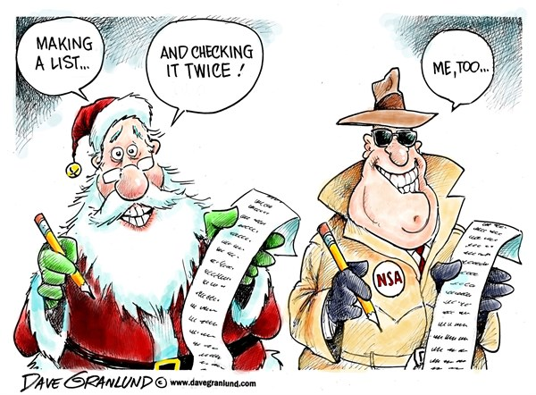 Dave Granlund - Politicalcartoons.com - Santa and NSA - English - Santa, Santa Claus, Christmas, Noel, list, NSA, National Security Agency, phones, cell phones cell towers, spying, st nick, holiday, season