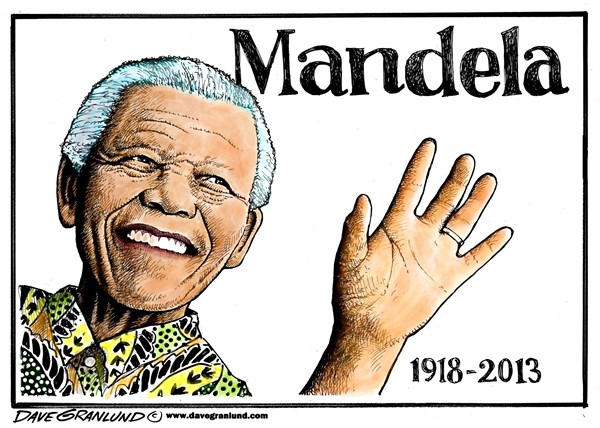 Nelson Mandela tribute © Dave Granlund,Politicalcartoons.com,Mandela, nelson, South Africa, leader, rights, blacks, whites, president, elected, africa, obituary, death, dies,