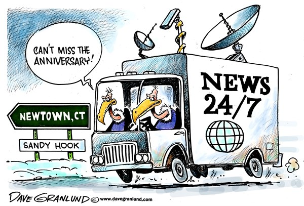 Newtown anniversary © Dave Granlund,Politicalcartoons.com,Newtown, connecticut, ct, massacre, school shootings, deaths, innocent, kids, victims, mourning, killings, slaughter,guns, violence, gun control, sandy hook, elementary school, students, faculty
