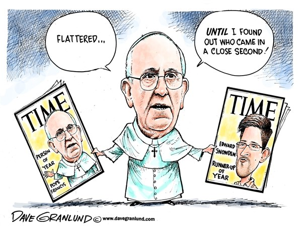 Person Of The Year 2013 © Dave Granlund,Politicalcartoons.com,Time magazine,Time,cover,popePope Francis,Catholic,traitor,NSA,theft,treason,influential,person of the year,runner-up,runner up,second place,edward snowden, pope person of the year