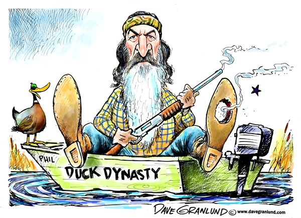 Dave Granlund - Politicalcartoons.com - Duck Dynasty uproar - English - phil robertson, duck dynasty, AE, reality tv, tv show, suspended, gays, slurs, blacks, muslims, christianity, contoversy, GQ interview, conservative, ducks, loon