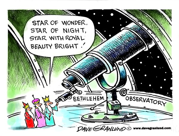 Bethlehem Star © Dave Granlund,Politicalcartoons.com,Star of Bethlehem, bethlehem, Jesus, born, three kings, gifts, heavens, Christmas, birth