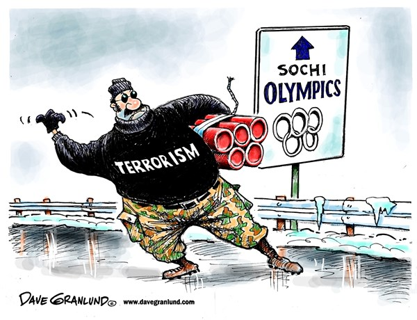 Sochi Olympics and terrorism © Dave Granlund,Politicalcartoons.com,Russia, terrorism bombings, killed, fear, putin, winter olympics, 2014