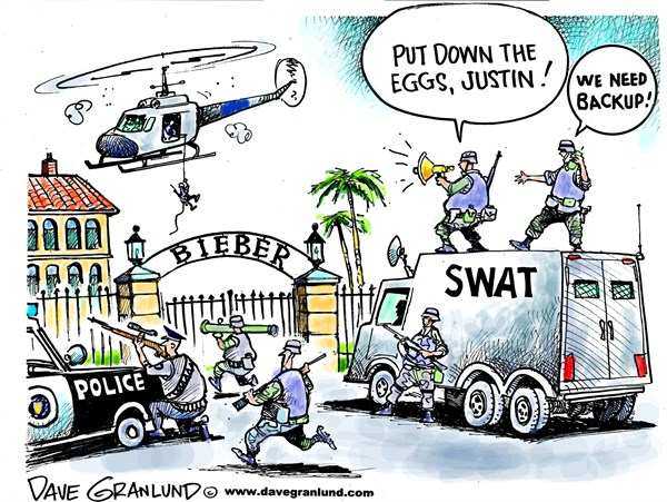 Justin Bieber egg raid © Dave Granlund,Politicalcartoons.com,Bieber, Justin, eggs, egg-throwing, cops, raid, house, house raid, search warrant, feud, neighbors, overboard, mole hill, extreme, response, overkill,<br /> police response