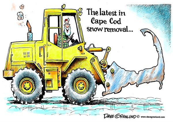 Cape Cod snow removal © Dave Granlund,Politicalcartoons.com,snow, cape cod, cape codder, plow, new england, highway dept, dpw, elbow, massachusetts, old salt, coastal
