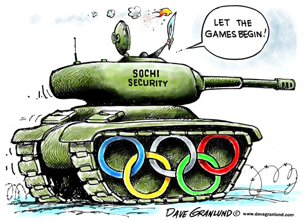 Dave Granlund - Politicalcartoons.com - Olympic torch 2014 - English - Sochi, Russia, security, fears, terrorism protection, terrorists, terror, bombings, threats, athletes, olympians, police, guards, extremists, torch, games, winter games, opening