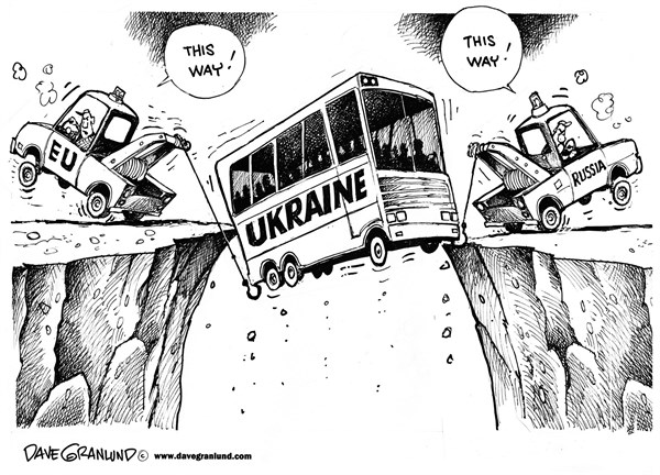Dave Granlund - Politicalcartoons.com - Ukraine at the brink - English - Ukraine, unrest, protests, riots, killings, shootings, civilians, soldiers, police, violence, EU, Russia, russians, two directions, east, west, dead, fires, burnings, bombs,rioting