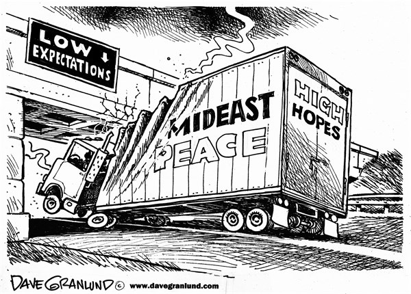 Dave Granlund - Politicalcartoons.com - Mideast Peace hopes - English - Middle East, israel, Palestine, settlements, expectations, prisoners, negotiations, land, occupied land, mideast, netanyahu, jews, jewish