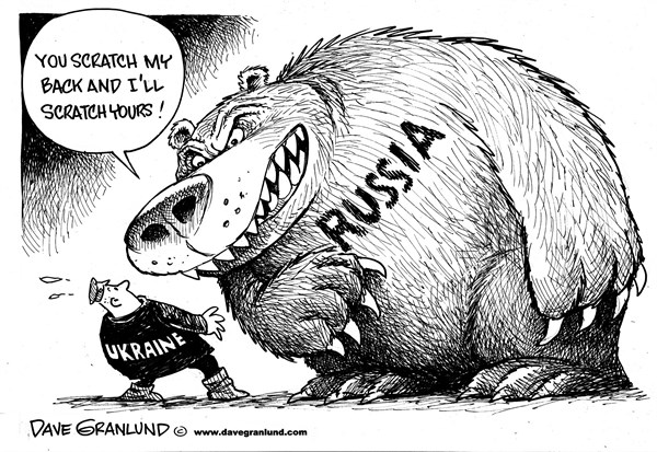 Dave Granlund - Politicalcartoons.com - Russia and Ukraine - English - Russia, bear, putin, russians, intentions, harm, pressure, threat, destabilize, topple, target, ukrainian, tension, brink