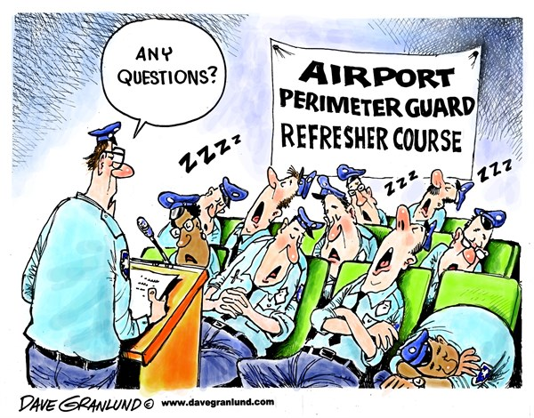 Airport perimeter guards © Dave Granlund,Politicalcartoons.com,guards, security, stowaway, stowaways, runways, wheel wells, nose gear, breach, lax, staffing