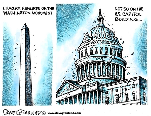 Washington Monument repaired © Dave Granlund,Politicalcartoons.com,monument, washington monument, earthquake, cracks, repairs, fixed, congress, capitol building, congressional, capitol hill, house, senate, gridlock, fractures, split, politics, broken, partisan, do nothing, divided