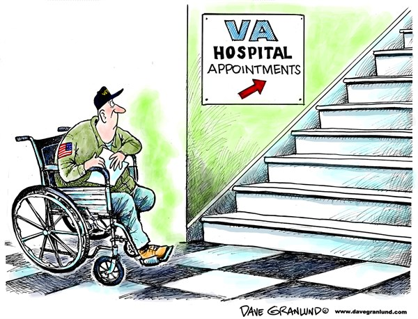 Dave Granlund - Politicalcartoons.com - VA Hospital care - English - Veterans, military, soldiers, combat, injuries wounded, amputees, brain injured, limbs, mental care, appointments, waiting rooms, long waits, doctors, medicines, service, sacrifices, crippled, blind, head injuries, negligent, accountable,help, neglect