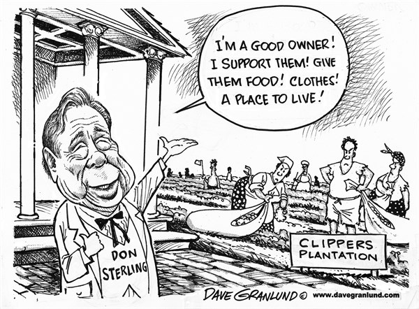 Dave Granlund - Politicalcartoons.com - Donald Sterling and Clippers - English - Don, Donald Sterling, Clippers owner, NBA, basketball, team, racist, bigot, blacks, racial, plantation, comments, interview, explains, fines, banned, ban, tape, racism, penalties, lifetime ban
