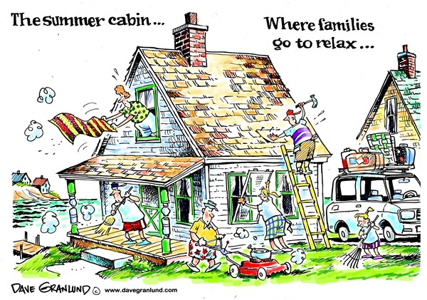 Summer cabins and relaxation © Dave Granlund,Politicalcartoons.com,Summer, memorial day, weekend, 4th of july, fourth of july, holiday weekend, summer home, summer cottage, vacation, ocean, lake, cabin, begins, family, rest, relax, getaway