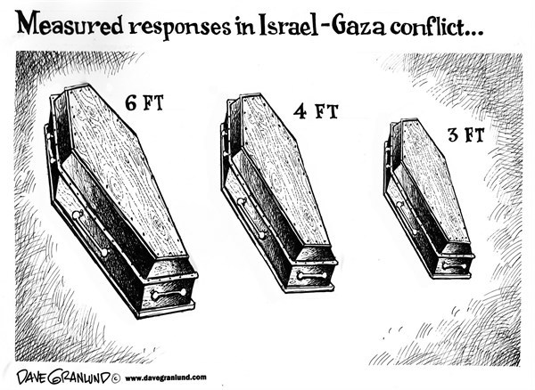 Dave Granlund - Politicalcartoons.com - Israel vs Gaza - English - israeli, israel, Palestinians, Palestine, Gaza, measured response, reaction, results, surgical, strikes, bombs, targets, hamas, casualties, killings, dead, wounded, civilians, damage, collateral damage, innocent, assault, ground assault, rockets, tanks