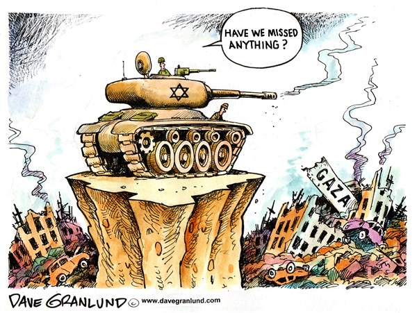 Israel and Gaza destruction © Dave Granlund,Politicalcartoons.com,Gaza, israel, israeli, palestinians, bombings, destroyed, casualties, infrastructure, damage, shelling, targets, measured response, retaliate, retaliation, netanyahu, hamas, overkill, buildings, homeless, targeting, mideast, deaths, killed, middle east