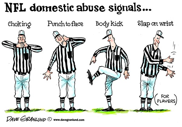 NFL and domestic violence © Dave Granlund,Politicalcartoons.com,wife beating, partners, partner,violence, black eye, beaten, kicked, punched, slapped, thrown hit, assaulted, assault, women, males, men, penalty, signals, NFL signals, refs, gridiron, field, offense, tackle, spouse, hurt, injure