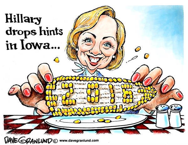 Hillary and Iowa © Dave Granlund,Politicalcartoons.com,Hillary, Clinton, Iowa, caucus, polls, running, 2016, campaign, HRC, presidential, democrats, democratic, candidate, decision, decide, speculation