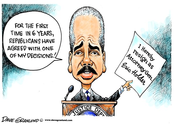 Eric Holder resigns © Dave Granlund,Politicalcartoons.com,Eric Holder, Attorney General, Justice Department, US, Law, lawyer, laws, AG, GOP, republicans, Fast, furious, contempt, resignation, leaving, steps down goes, departure, departs, cabinet, Obama