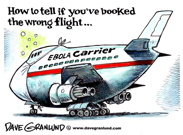 Ebola carriers © Dave Granlund,Politicalcartoons.com,Ebola, contagious, flight, airlines, sick, ill,
