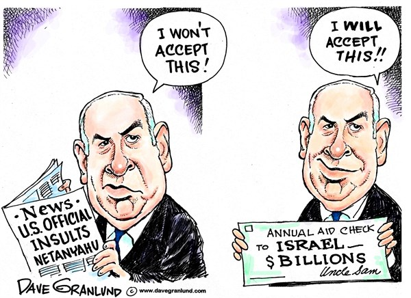 Netanyahu insulted © Dave Granlund,Politicalcartoons.com,bibi, israel, israeli, mideast, us aid, isult, vulgar, white house, senior official, chickenshit, coward, netanyahu, ben, insulting,