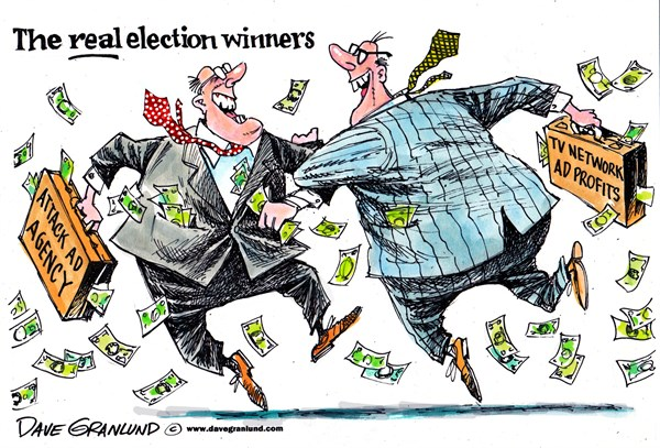 Election winners © Dave Granlund,Politicalcartoons.com,elections, election, campaigns, candidates, voters, attack ads, tv networks, ad revenue, money, profits, ad agency, ad agencies, real winners