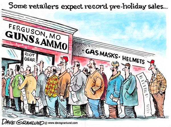Ferguson and retailers © Dave Granlund,Politicalcartoons.com,Ferguson, MO, guns, rioting, riots, unrest, holiday shopping, retail, gun sales, gas masks, ammo, police, national guard, riot gear, blacks, whites, violence, verdict, grand jury, ruling, shooting, killing