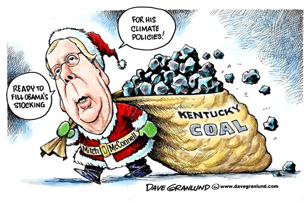 McConnell and Climate policy © Dave Granlund,Politicalcartoons.com,Mitch, McConnell, Senate, majority, GOP, leader, kentucky, coal, fossil fuels, coal country, lump, stocking, obama, christmas, pollution, control, senator, republicans, republican, sack, santa, stocking