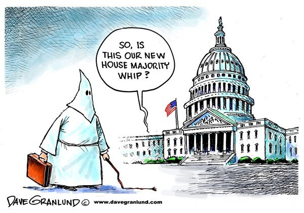 House Majority whip © Dave Granlund,Politicalcartoons.com,Whip, house, majority, scalise, steve scalise, gop, david duke, hate group, supremacist, supremacists, louisiana, white supremacists, speaker, republicans, house,