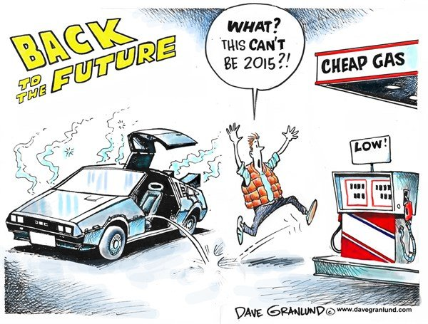 Cheap Gasoline © Dave Granlund,Politicalcartoons.com,gas, fuel, pumps, prices, low, cuts, dropping, oil, petroleum, wells, drilling, saudis, opec, lower, tank, gasoline, costs, savings, mpg, cheaper
