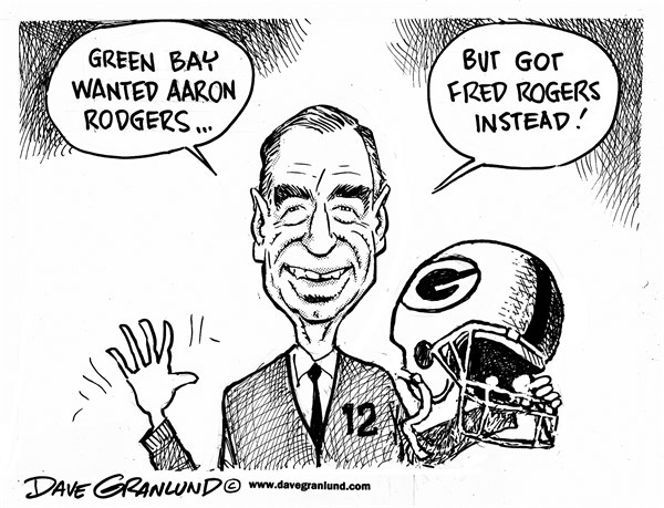 Aaron Rodgers and Mr Rogers © Dave Granlund,Politicalcartoons.com,Green bay Seahawks, losers, packers, giveaway, QB, rogers, rodgers, loss, seattle